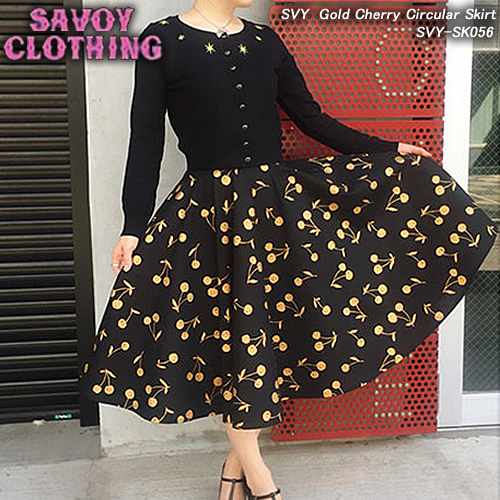 SVY CLOTHINGサボイクロージング◆SVY Gold Cherry Circular Skirt◆◆チェリー柄サーキュラースカート◆SVY-SK056