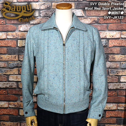 SAVOY CLOTHINGサヴォイクロージング◆SVY Double Pleated Wool Nep Sport Jacket◆◆MINT◆SVY-JK123