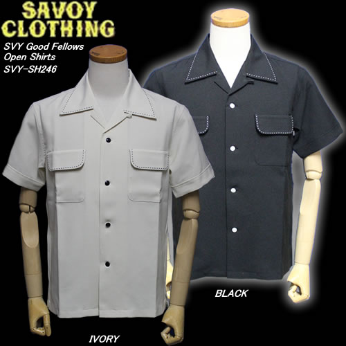 SAVOY CLOTHINGサヴォイクロージング◆SVY Good Fellows Open Shirts◆◆BLACK/WHITE◆SVY-SH246