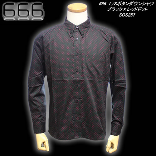 666トリプルシックス◆666 L/Sボタンダウンシャツ◆◆ブラック×レッドドット◆SOS257