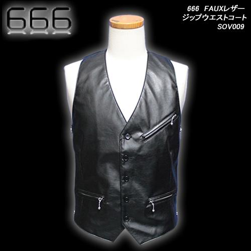 666トリプルシックス◆666 FAUXレザージップウエストコ-ト ◆SOV009