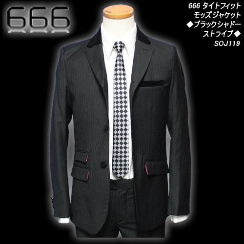 666トリプルシックス◆666 タイトフィットモッズジャケット◆◆ブラックシャドーストライプ◆SOJ119