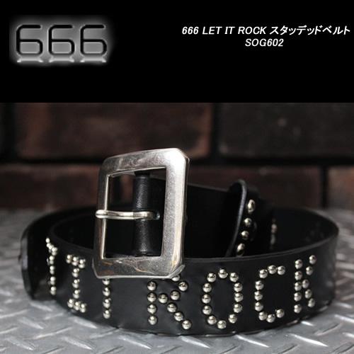 666トリプルシックス◆666 LET IT ROCK スタッデッドベルト◆SOP065