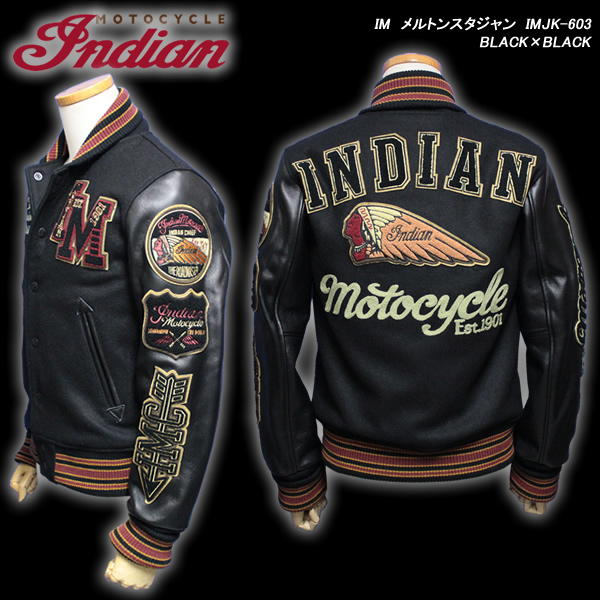 INDIAN MOTOCYCLEインディアン・モトサイクル◆IM メルトンスタジャン◆◆BLACK×BLACK◆IMJK-603