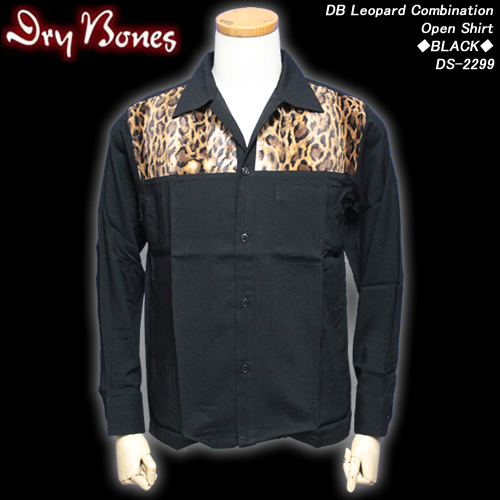 DRY BONESドライボーンズ◆DB Leopard CombinationOpen Shirt◆◆BLACK◆DS-2299