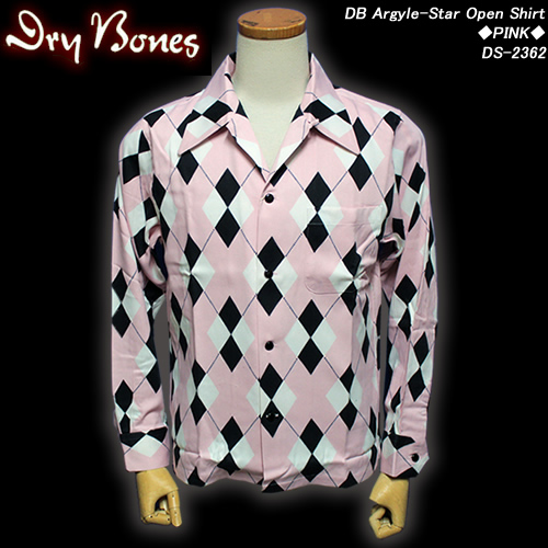 DRY BONESドライボーンズ◆DB Argyle-Star Open Shirt◆◆PINK◆DS-2362