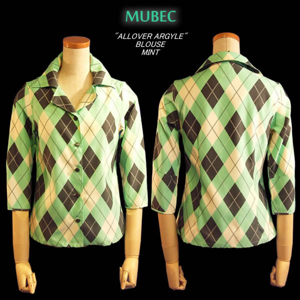 MB ALL OVER ARGYLE BLOUSE MINT