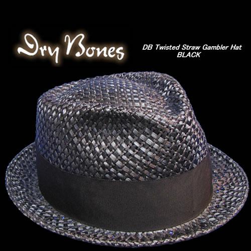 Dry Bonesドライボーンズストローハット BonesドライボーンズTwisted HatBLACK Gambler 誕生日 格安激安 お祝い Straw