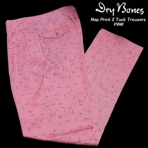 DRY BONESドライボーンズ◆DB Nep Print 2 Tuck Trousers◆◆PINK◆DP-654DP-654