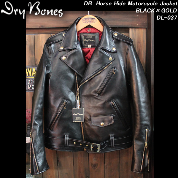 DRY BONESドライボーンズ◆DB Horse Hide Motorcycle Jacket馬革ライダースジャケット◆◆BLACK×GOLD◆DL-037