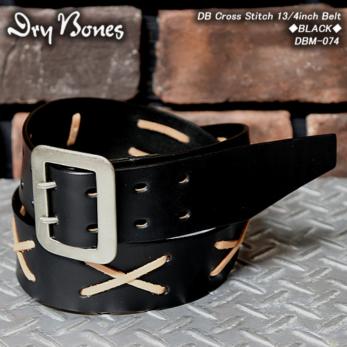 DRY BONESドライボーンズ◆Cross Stitch BeltBLACK×NATURAL STITCH◆DBM-074