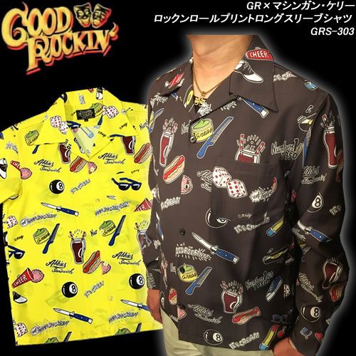 GOOD ROCKIN'グッドロッキン×マシンガンケリー・コラボ◆ロックンロールプリントロングスリーブシャツ ◆GRS-303