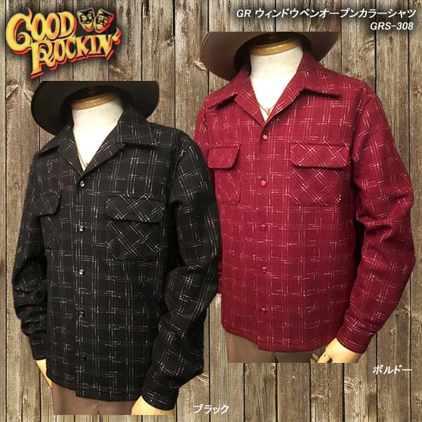 GOOD ROCKIN'グッドロッキン◆GR ウィンドウペンオープンカラーシャツ◆GRS-308