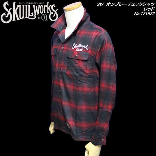SKULL WORKSスカルワークス◆SW オンブレーチェックシャツ◆◆レッド◆No.121522