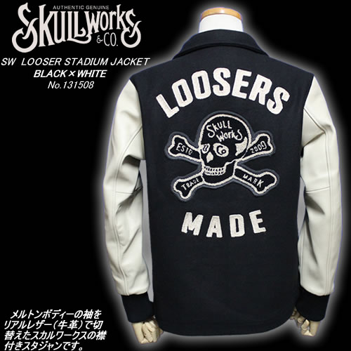 SKULL WORKSスカルワークス◆SW LOOSER STADIUM JACKET◆◆BLACK×WHITE◆No.131508