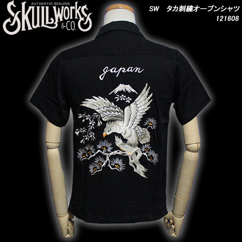 SKULL WORKSスカルワークス◆SW タカ刺繍オープンシャツ◆121608