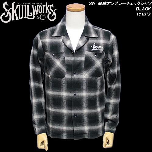 SKULL WORKSスカルワークス◆SW 刺繍オンブレーチェックシャツ◆◆BLACK◆121612
