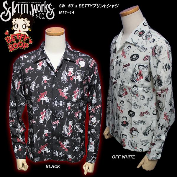 SKULL WORKSスカルワークス◆SW 50's BETTYプリントシャツ◆BTY-14