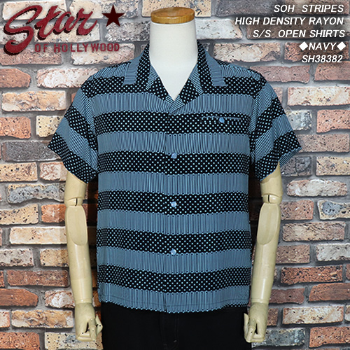 STAR OF HOLLYWOODスター・オブ・ハリウッド◆STRIPES HIGH DENSITY RAYON S/S OPEN SHIRTS◆◆NAVY◆SH38382