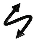 メール便可 サージカルステンレス製定番スパイラル ブラックPVD 14G ツイスター スパイラル コーン サ―ジカルステンレス ボディピアス 3mm 4mm 信用 日本産 スパイラルバーベル ピアス ステンレスピアス イヤー ボディピ ロブ 5mm ぴあす 耳ピアス