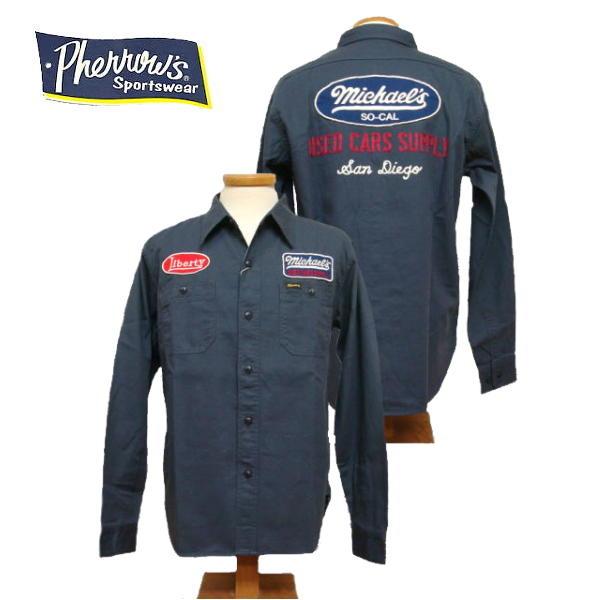 【20%OFF セール・SALE】 Pherrow's フェローズ カスタム 長袖 ワークシャツ MICHAELS 17w-730ws-p