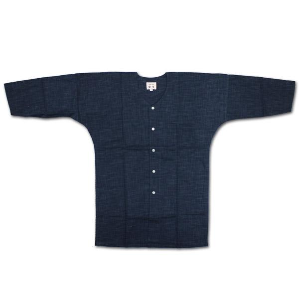 お祭用品 鯉口シャツ ムラ糸 [藍調無地] 小~大 お祭り衣装 お祭り用品 こいくちシャツ 日本製 ネイビー