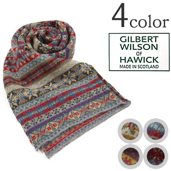 GILBERT WILSON OF HAWICK (Gilbert Wilson) Fair Isle scarf wool scarf scarf  / men gap Dis
