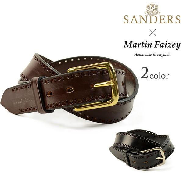 【30%OFF】SANDERS×MARTIN FAIZEY(サンダース×マーティンフェイジー) 1.25インチ(30mm) ブローグ ブライドルレザーベルト / メンズ / パンチング / 英国製【セール】