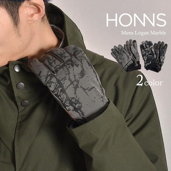 【20%OFF】HONNS(ホンズ) ローガン マーブル ナイロン レザー グローブ / 手袋 / スマホ対応 / メンズ / LOGAN MARBLE【セール】