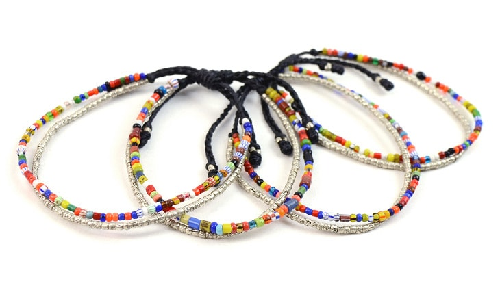 Wax Cord African Beads Bracelet Men Lady S Silver With Africanbeads And Siver