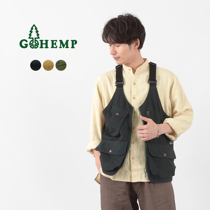 汎用性の高さが魅力のキャンプベスト GOHEMP ゴーヘンプ 日本メーカー新品 ヘンプ ユーティリティ ベスト ランキング総合1位 メンズ VEST GHJ6119WTS21 HEMP ウェザークロス UTILITY コットン