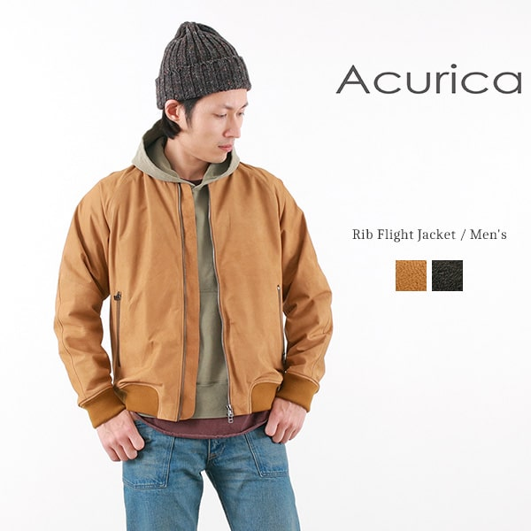 【限定クーポン対象】ACURICA(アクリカ) レザー リブ フライトジャケット / レザージャケット / 革ジャン / MA-1 / メンズ / 日本製 / RIB FLIGHT JACKET MEN'S