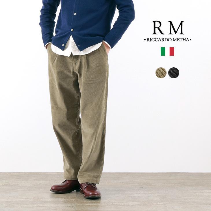 RICCARDO METHA(リカルドメッサ) コーデュロイ 1タック ワイドトラウザー / 太畝 / メンズ / イタリア製 / CORDUROY 1TUCK WIDE TROUSERS