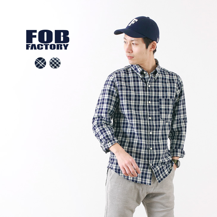 1b7e7fb3425d5 FOB FACTORY (FOB factory) F3427 indigo check button-down shirt / shirt ...