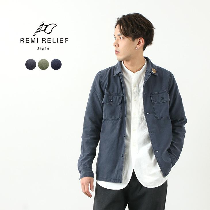 古着に近い渋みを再現した1枚 REMI RELIEF(レミレリーフ) ミリタリーシャツ(花スタッズ) / ファティーグシャツ / ミリタリージャケット / メンズ / 長袖 / 日本製 / MILITARY SHIRT / liou