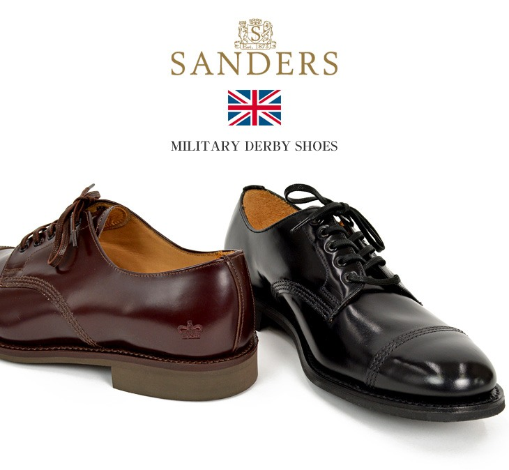 SANDERS(サンダース) #1128 ミリタリーダービーシューズ / レザーシューズ レザーブーツ ドレスシューズ / メンズ / 外羽根 ストレートチップ レースアップ / 英国製 / クールビズ