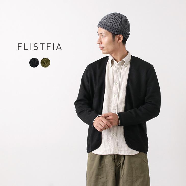 品と快適さを備えるブランド定番カーデ FLISTFIA フリストフィア ニットスエード パイピングカーディガン ボタンなし ニット PIPING 日本製 軽量 送料無料 CARDIGAN 待望 メンズ