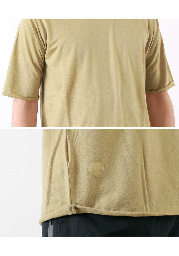 / MERINO WOOL H/S T-SHIRT / DLMNJA50 made in Descente PAUSE (Descente pose)  merino wool half sleeve T-shirt / short sleeves plain fabric / men / Japan