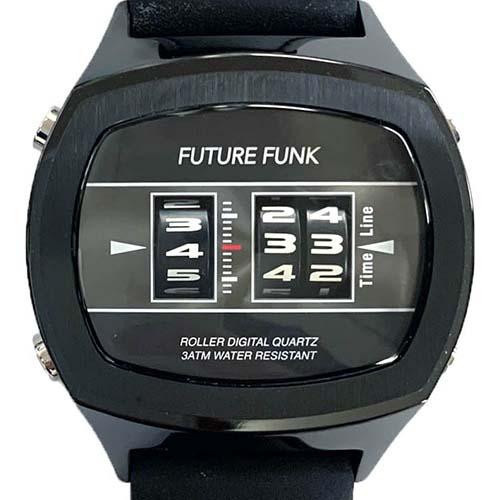 車のアナログ距離メーターのように動く腕時計 FUTURE FUNK 市販 フューチャー クオーツ腕時計 日本産 FF106-BKBK-LBK ファンク