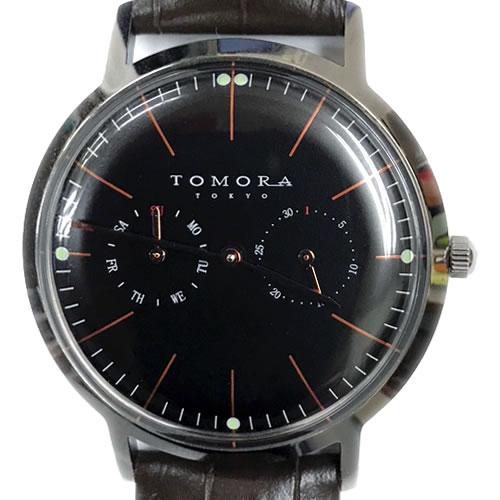 TOMORA メンズ腕時計 マルチカレンダー レザーベルト T-1603S-PBK ピンクブラック