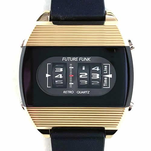 FUTURE FUNK (フューチャー ファンク)FF104-YG-RB ラバーバンド クオーツ腕時計(イエローゴールド)