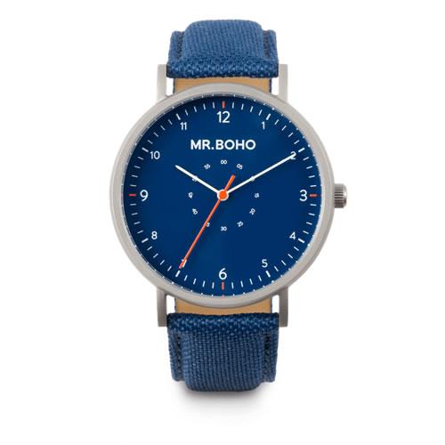 Mr.BOHO ミスターボーホー SPORTY METALLIC 腕時計 5気圧防水 13-S-IB テキスタイルオンレザー