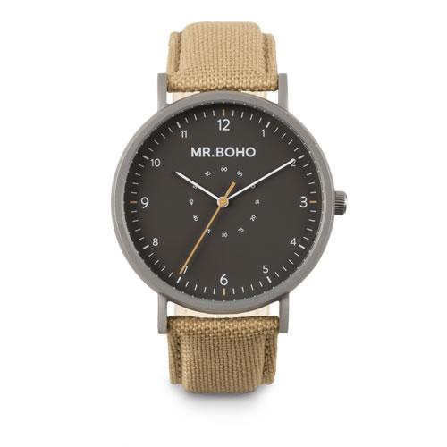 Mr.BOHO ミスターボーホー SPORTY METALLIC 腕時計 5気圧防水 12-S-IG テキスタイルオンレザー