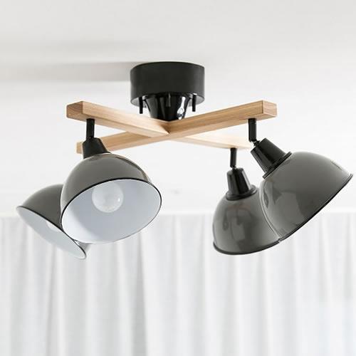 BRID ジェンダーウッドロッド4灯シーリングランプ クロス リモコン付き(電球付属)003016