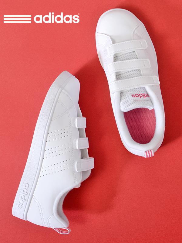 adidas アディダス スニーカー キッズ ジュニア 白 ホワイト VALCLEAN2 CMF K バルクリーン 2 シューズ 靴 子供靴 キッズシューズ 子供 男の子 女の子 軽い ベルクロ マジックテープ スリーストライプス ネオ NEO BB9978