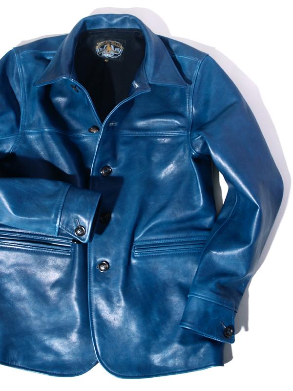 ダブル ヘリックス Double Helix レザージャケット メンズ レディース レザーコート 革ジャン 馬革 日本製 AUTO REVOLUTION カーコート Car Coat アウター コート ジャケット ホースレザー 藍染 INDIGO 180103