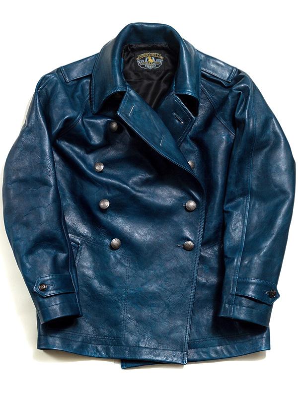 ダブル ヘリックス Double Helix レザージャケット コート メンズ レディース ユニセックス 本革 大きいサイズ ブランド French Military Coat 藍染め インディゴ 革ジャン 馬革 日本製 アウター FRENCH-MCOAT-I 181002 母の日 プレゼント ギフト ラッピング