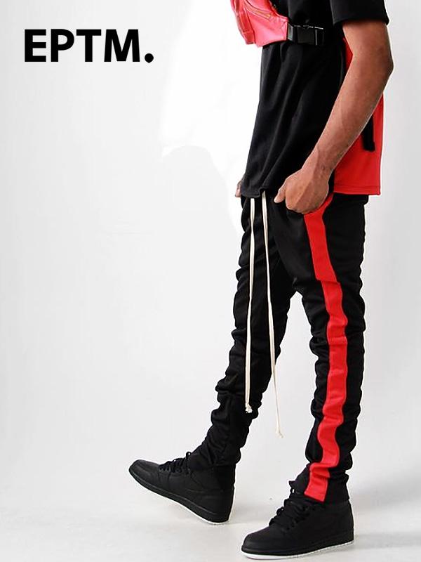 EPTM エピトミ パンツ トラックパンツ メンズ レディース ユニセックス BLACK/RED TECHNO TRACK PANTS ジャージー ジャージ ロングパンツ サイドライン アメリカ製 Made in USA ボトムス EP7712