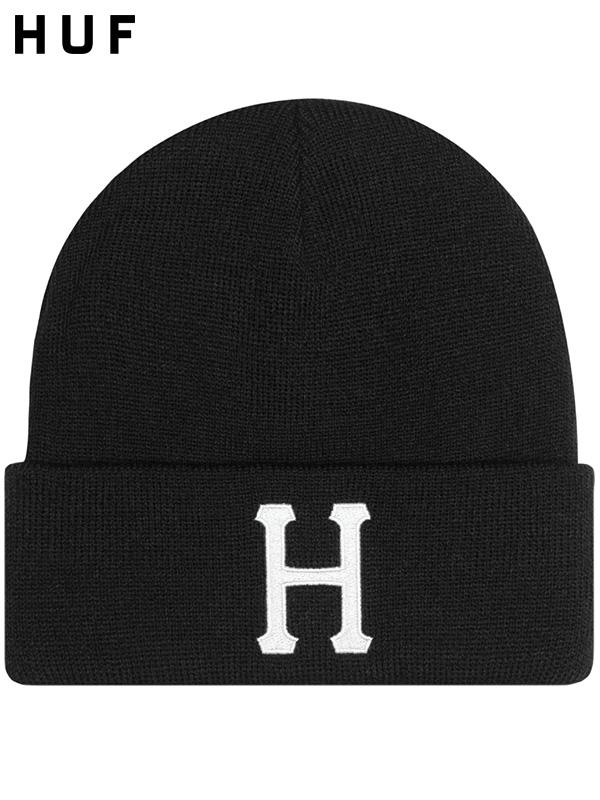 【ゆうメール便送料無料】HUF ハフ キャップ ニット帽 メンズ レディース ユニセックス 帽子 CLASSIC H BEANIE クラシック ロゴ 刺繍 ビーニー ニットキャップ ワッチキャップ ストリート スケーター リンクコーデ BN00074-B