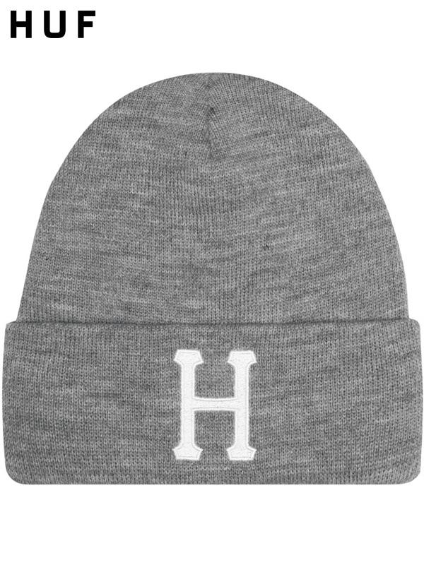 【ゆうメール便送料無料】HUF ハフ キャップ ニット帽 メンズ レディース ユニセックス 帽子 CLASSIC H BEANIE クラシック ロゴ 刺繍 ビーニー ニットキャップ ワッチキャップ ストリート スケーター リンクコーデ BN00074-G